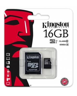 Флеш карта microSDHC 16Gb Class10 Kingston SDC10G2/16GB + adapter