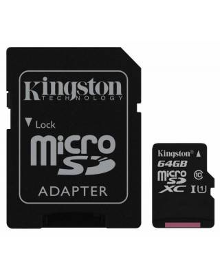 Флеш карта microSDXC 64Gb Class10 Kingston SDC10G2/64GB + adapter